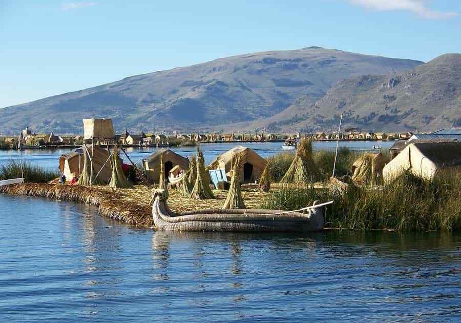 Lake Titicaca with the typical boat