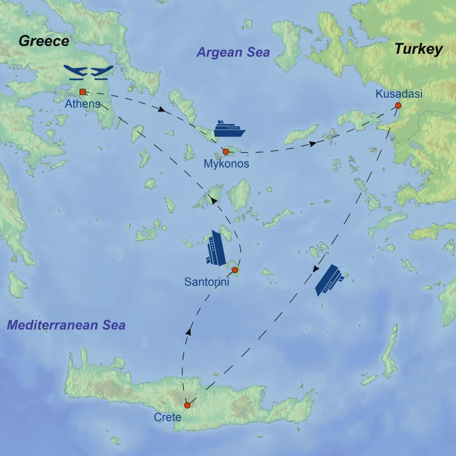 Athens and 4 Nights Greek Islands Cruise