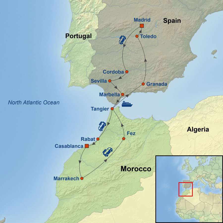 Map Of Spain Morocco And Portugal.Wonders Of Spain And Morocco
