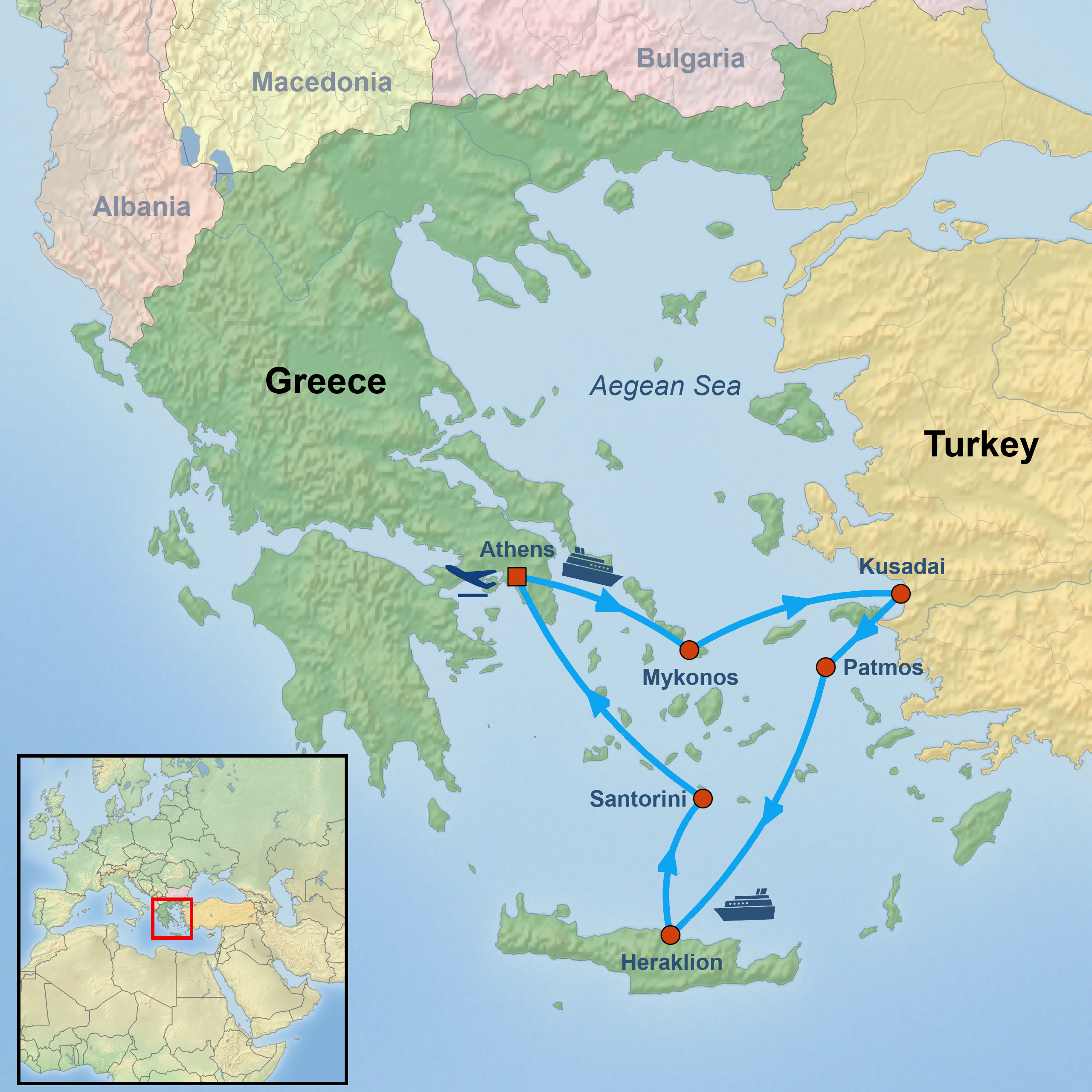 Athens and 3 Nights Greek Islands Cruise